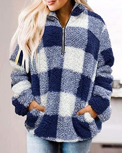 Plaid Print Plush Long Sleeve Sweatshirt For Women