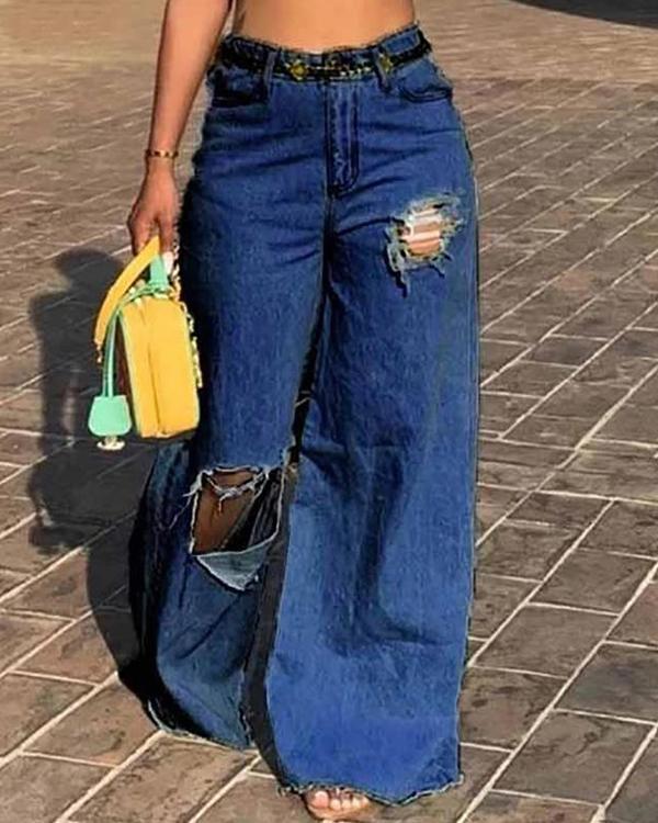 Ladies Loose Hole Jeans