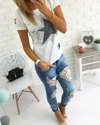 Holes Lace Casual Jeans