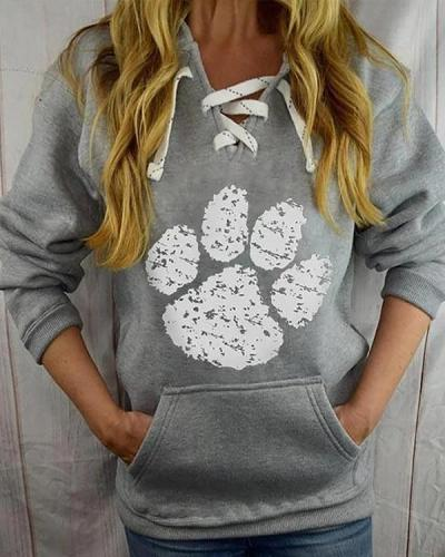 Women Paw Print Casual Long Sleeve Lace up V Neck Loose Hoodies