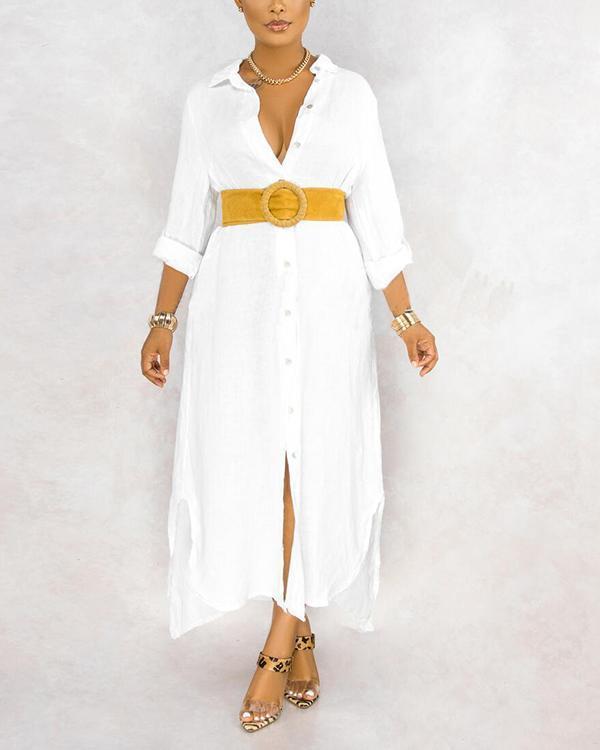 Plaid Button Long Shirt Dress