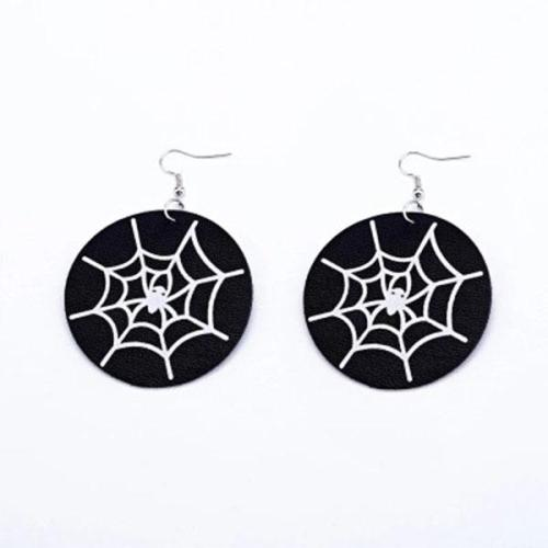 Halloween Silhouette Print Fashion PU Leather Earrings