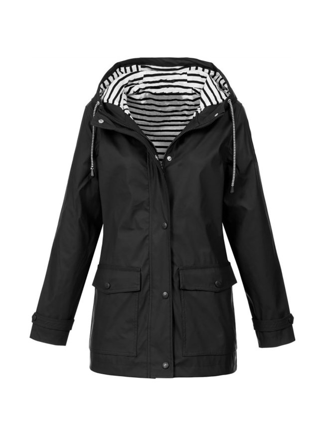 Casual Solid Leather-Paneled Hoodie Jacket