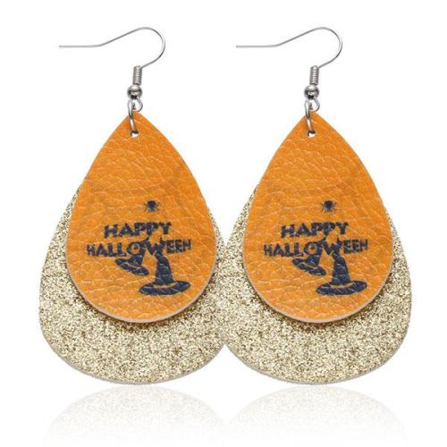 Halloween Graphic Print Fashion PU Leather Earrings