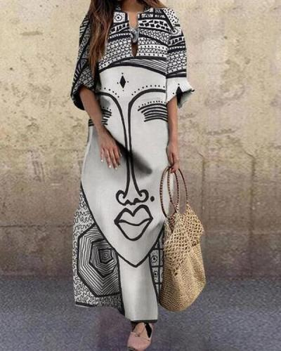 Fashion Face Printed Plus Size Vintage Maxi Dress