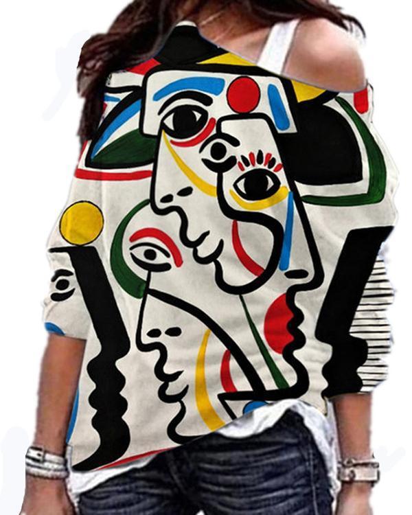 Women Casual Print Long Sleeve Blouses Trendy Tops