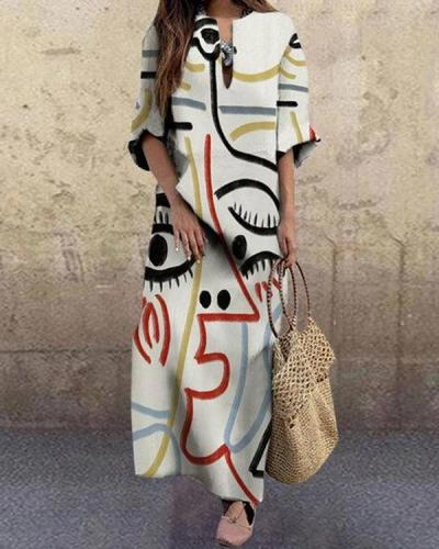 Women Fashion Face Printed Plus Size Vintage Maxi Dress