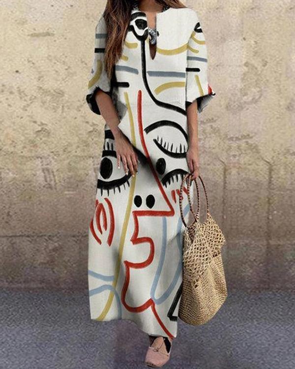 Women Fashion Face Printed Plus Size Vintage Maxi Dress