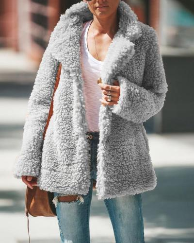 Solid Plush Warm Outdoor Windbreaker Long Sleeve Coat