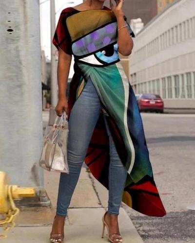 Abstract Art Printing Plus Size Colorful Long Blouses