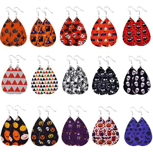 Halloween Graphic Print Fashion PU Leather Earrings(11 Colors)