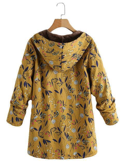 Floral Print Hooded Long Sleeve Pockets Vintage Coats