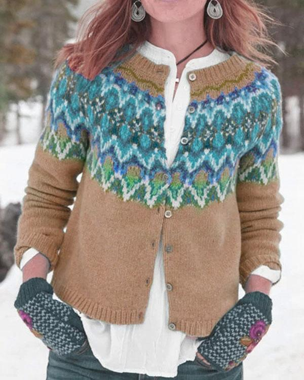 Casual Long Sleeve Printed Outerwear