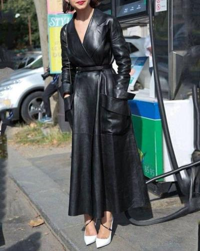 Womens Sexy PU Leather Slim Fit Long Jacket