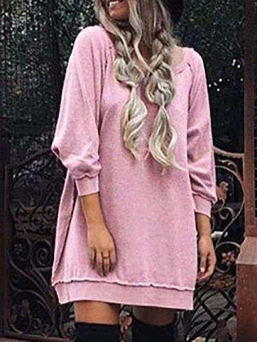 Cowl Neck Shift Women Daily Long Sleeve Casual Solid Fall Dress