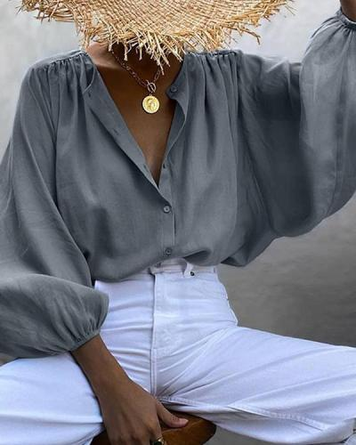 Puff Sleeve Pure Color Casual Loose Shirts Blouses