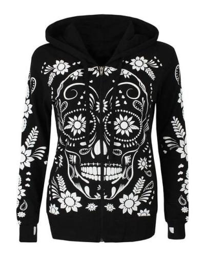 Skull Hooded Halloween Printed Oversized Shirt &Tops