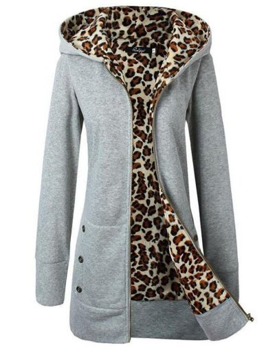 Hoodie Pockets Leopard-print Thick Coat