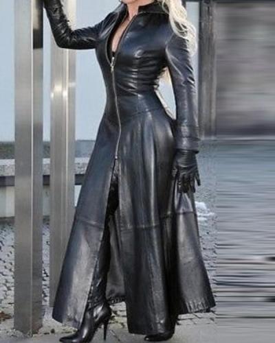 Womens Winter PU Leather Slim Fit Long Jacket