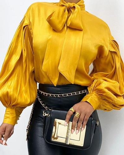 Lantern Sleeve Satin Blouse Shirt Women Ruched Solid Color Bow Knot Blouse