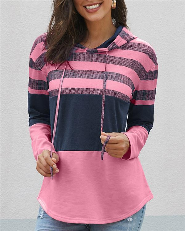 Fashion Patched Color Hooded Loose Women Fall Tops