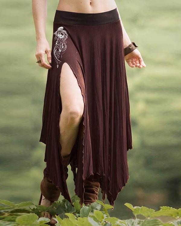 Women's Vintage Printed High Waist Split Skirt