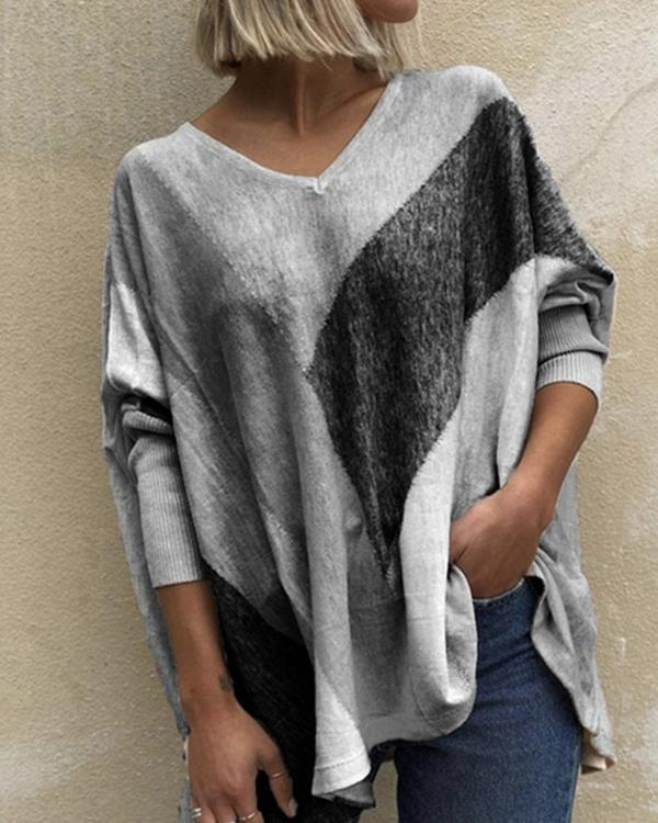 Casual V-Neckline Long Sleeve Blouses Knit Top