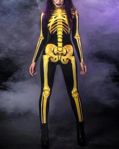 Halloween Costume Full Body Skull Printed Jumpsuit