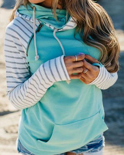 Casual Cotton-Blend Simple Shift Hoodie Sweatshirt