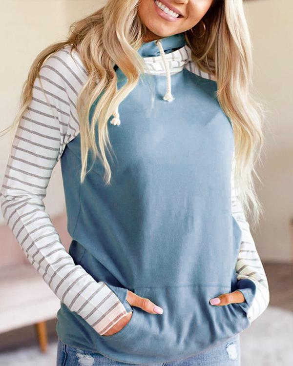 Casual Cotton-Blend Simple Shift Hoodie Sweatshirt