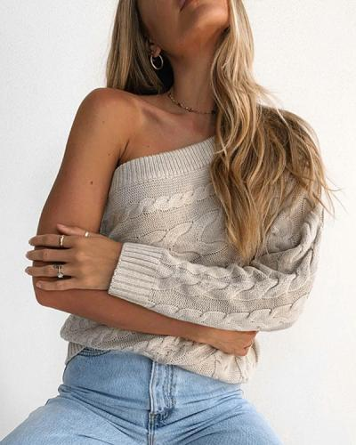 One Shoulder Strapless Cable Knit Solid Color Sweater