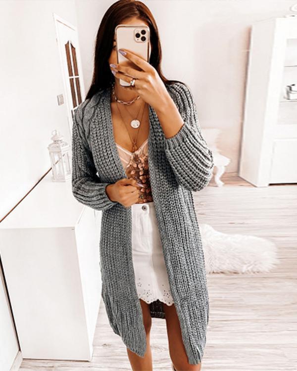 Fashion Straight Chunky Knit Sweater Cardigan