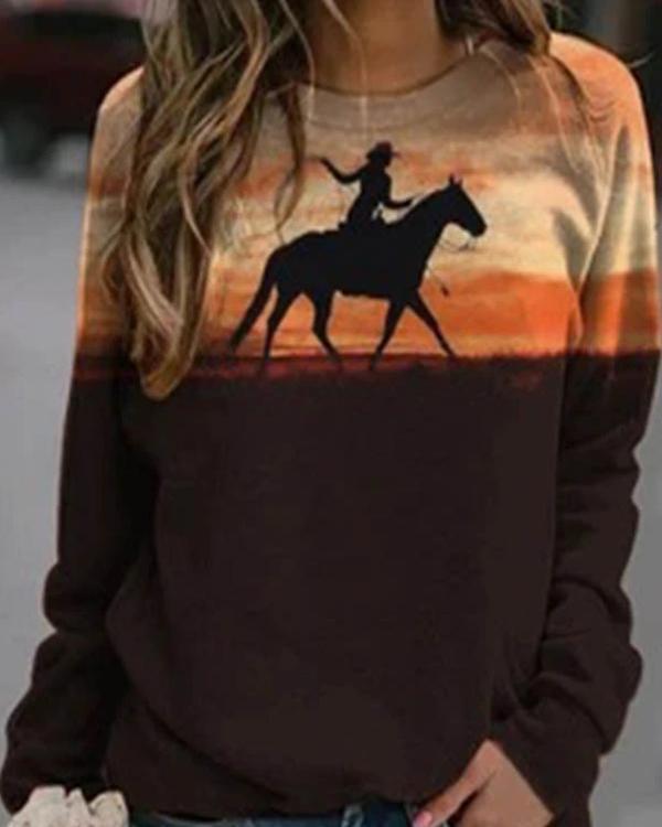 Casual Character Camel Print Paneled Color-block T-shirt