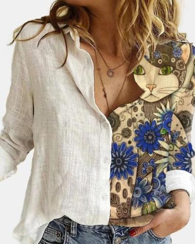 Cartoon Printed Patchwork Lapel Collar Button Long Sleeve Blouse