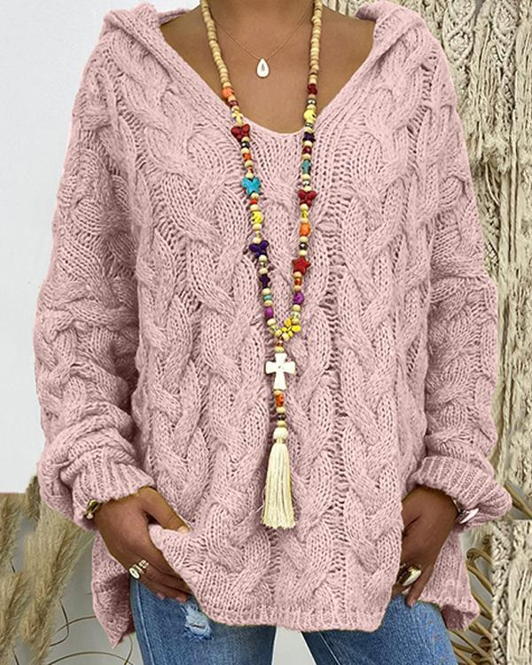 V-Neckline Solid Cable Knit Casual Loose Hoodie Sweaters