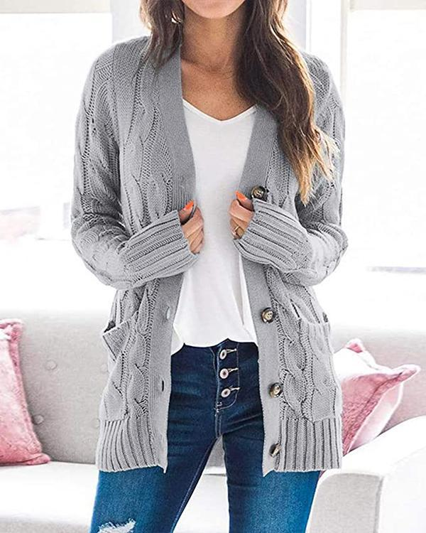 V-Neckline Solid Casual Cable Knit Pockets Buttons Sweaters