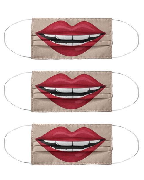 Lip Print Colorblock Breathable Cotton Face Mask Accessory