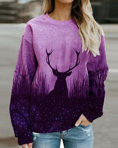 Women Print Long Sleeves Casual Shirts Daily Sweatshirts