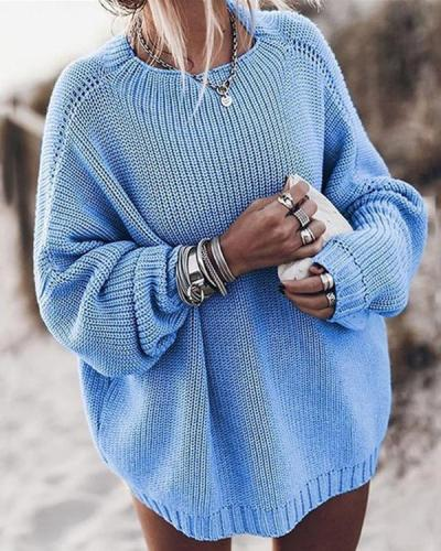 Cotton Blend Oversized Pullover Sweaters(4 Colors)
