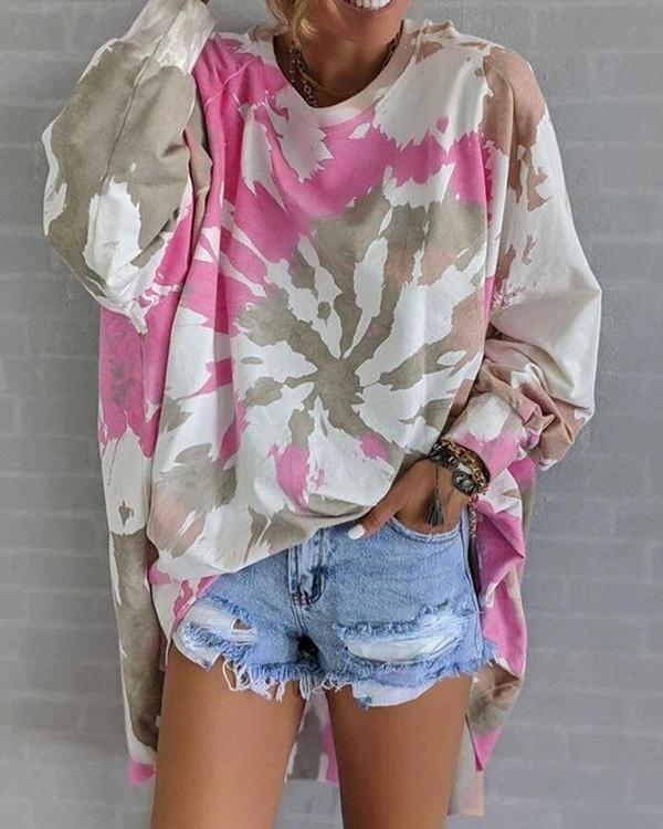 Oversize Tie Dye Round Neck Long Sleeve Sweatshirt
