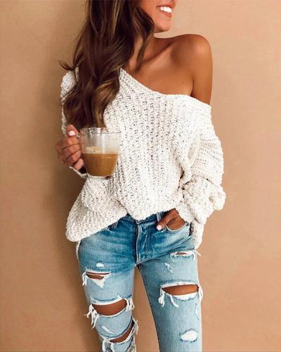 White Sexy V-neck Chunky Knit One Shoulder Sweater