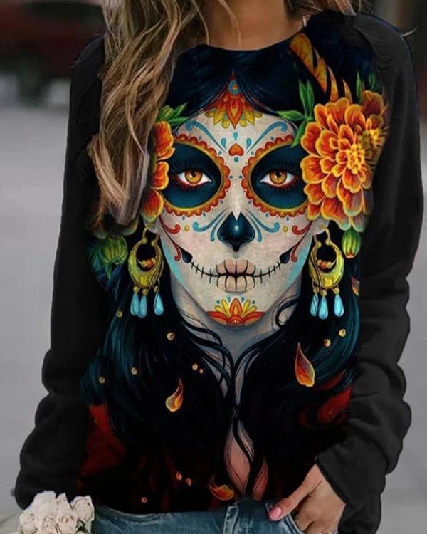 Ghost Face Vintage Floral Headwear Print Halloween Sweatshirt