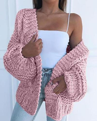 Fashion Solid Chunky Knit Casual Cardigan