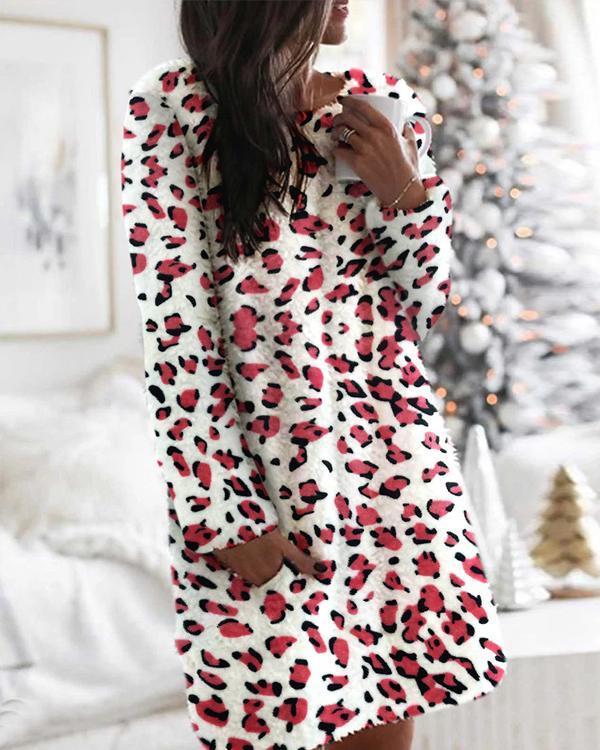 Long Sleeves Shift Above Knee Casual Tie Dye/Camo Print Pocket Plush Dresses(7 Colors)
