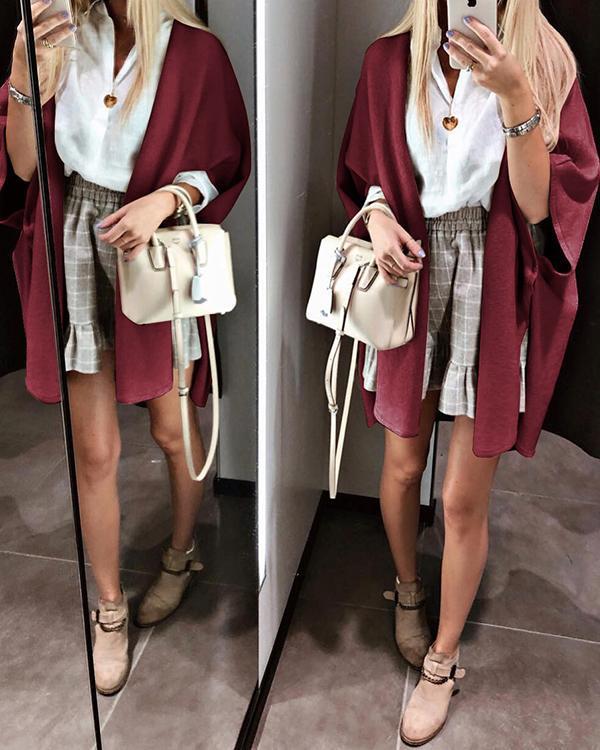 Fashion Solid Color Shawl Coat Cardigan