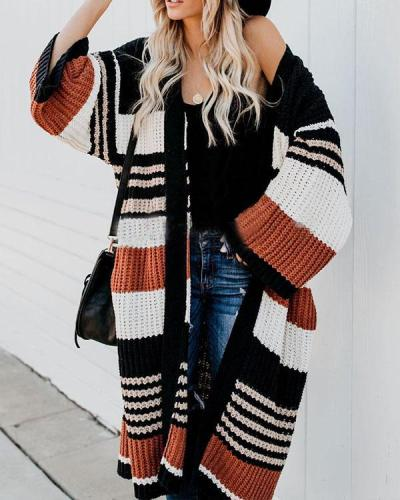 Fashion Loose Stripe Knit Sweater Cardigan Long Coat