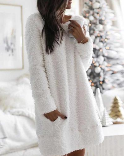 Long Sleeves Shift Above Knee Casual Solid Pocket Plush Dresses