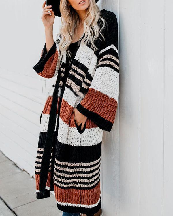 Fashion Loose Stripe Knit Sweater Cardigan Long Coat