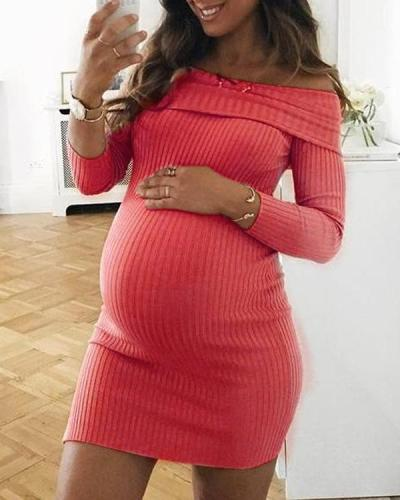 Maternity Elegant Off Shoulder Long Sleeve Knitted Bodycon Dress