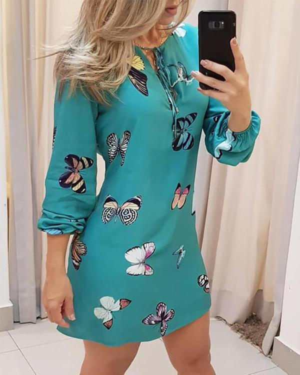 Elegant Office Ladies Long Sleeve Butterfly/Lip/Flower Print Mini Dresses